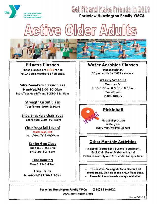 Schedules | Parkview Huntington Family YMCA
